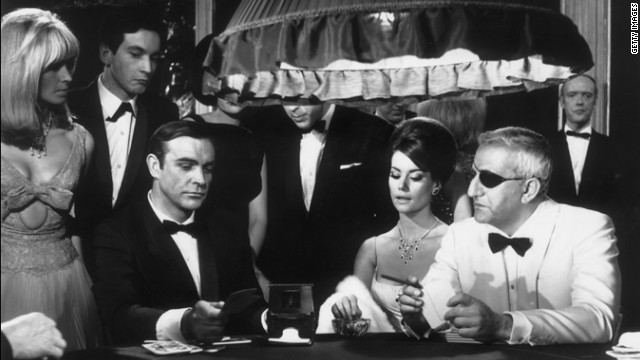 A scene from the James Bond film 'Thunderball' with Sean Connery, Claudine Auger, as Domino Derval, and Adolfo Celi playing Emilio Largo.