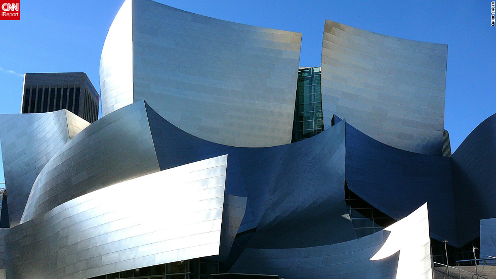 "Designed by Frank Gehry, the Walt Disney Concert Hall in Los Angeles is a building iReporter Marie Sager enjoys visiting. ""It's a photographers delight,"" she says. ""So many angles to capture."""