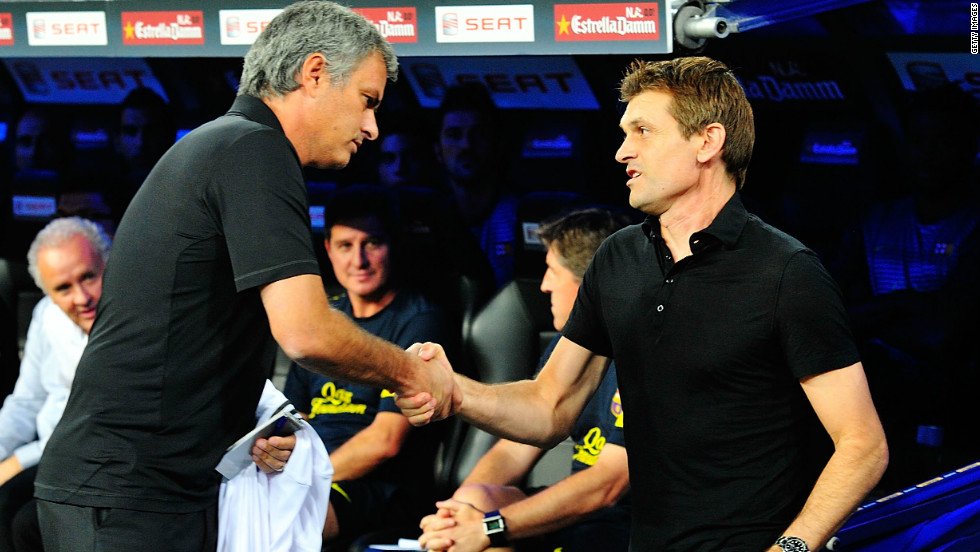 Real coach Jose Mourinho had a fiery confrontation with then Barcelona assistant coach Tito Vilanova in August 2011. Mourinho poked Vilanova in the eye amid a scramble on the touchline of last year's Super Cup encounter. Vilanova has since gone on to replace Josep Guardiola as Barca coach.