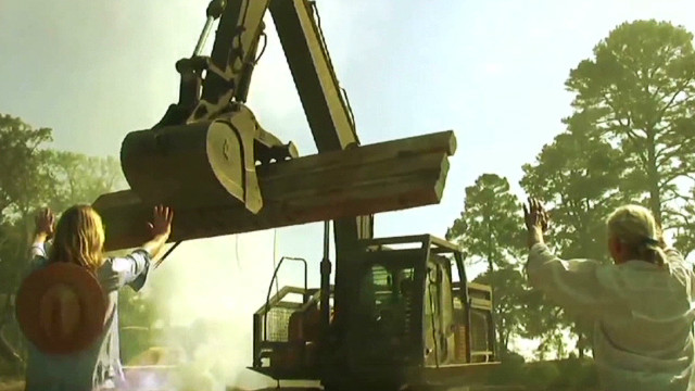 Daryl Hannah takes on a bulldozer
