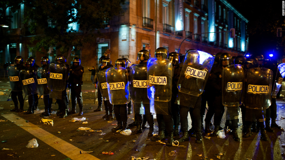 The Spanish financial crisis has led to a raft of anti-austerity measures. Protests against cuts have been seen on the streets of Madrid, where a minority of protesters have been involved in violent clashes with the police.