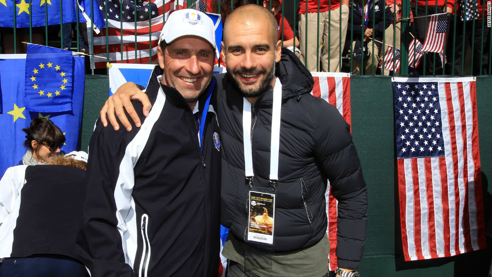 "Josep Guardiola, right, gave his support to Europe's victorious Ryder Cup campaign in Illinois last weekend. The former Barca coach has also echoed calls for Catalan secession, declaring on the region's national day: ""Here's one more vote for independence."""