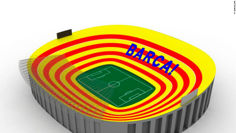 "Barcelona's Nou Camp stadium will be transformed into a giant Catalan flag prior to kick off in Sunday's ""El Clasico"" match against Real Madrid. A total of 98,000 placards will proudly display bands of red and gold."