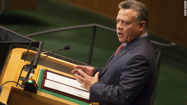 Jordan's King Abdullah II addresses the U.N. General Assembly on September 25 in New York City.