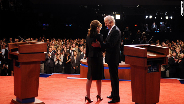 Joe Biden greets Sarah Palin during the 2008 vice presidential debate in St. Louis.