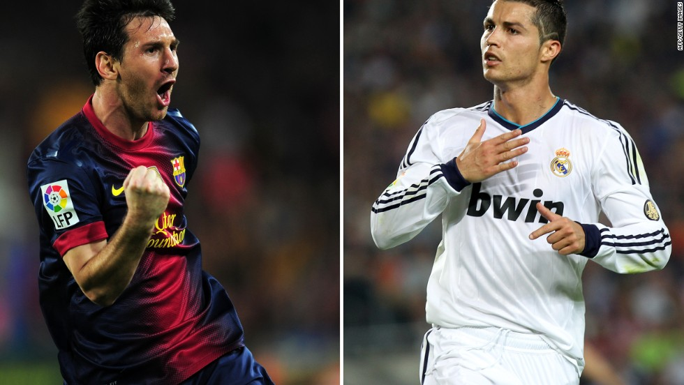 Lionel Messi (left) and Cristiano Ronaldo celebrate goals in the El Clasico clash in the Camp Nou.