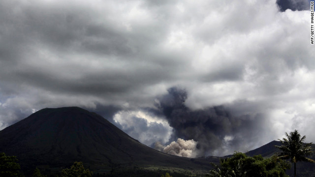 The Mount Lokon volcano, pictured in 2011, erupted on Sunday in Indonesia, prompting authorities to warn nearby residents.