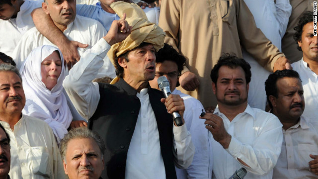 Pakistani politician Imran Khan addresses a peace rally against drone strikes in Tank, Pakistan, on Sunday.