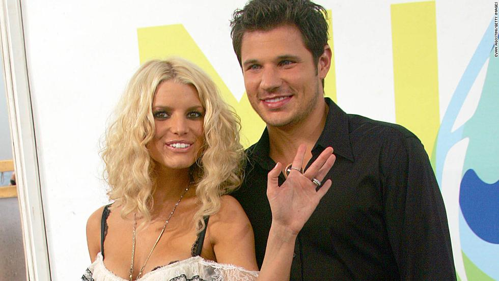 "MTV ""Newlyweds"" Jessica Simpson and Nick Lachey split in 2005 after their three-year marriage."