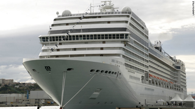 The 965-foot, 2,500-passenger MSC Orchestra is currently in the French port of Villefranche sur Mer.
