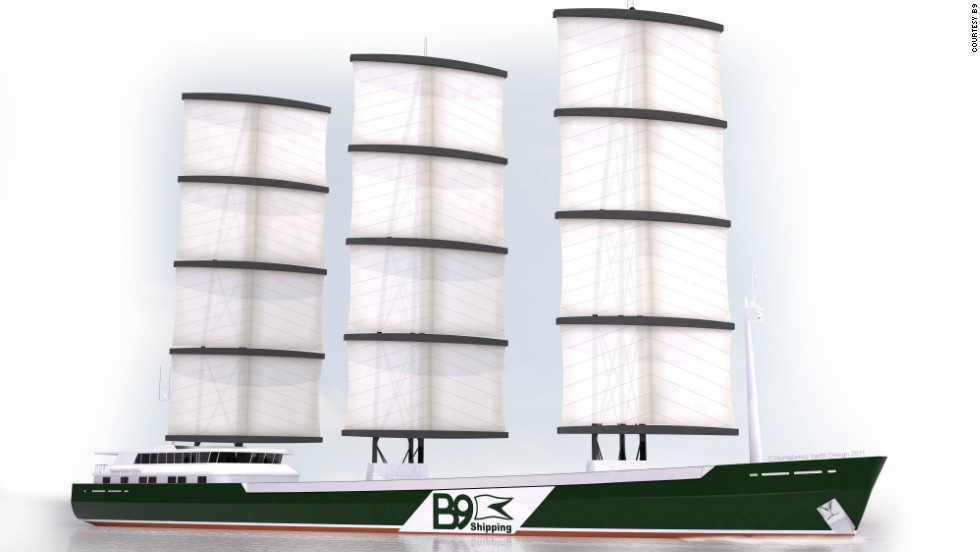 British wind power company B9 recently tested a model of its 100-meter, 3,000-ton carbon-neutral freighter. The ship would use 60% wind power, relying on three computer-operated masts rising 55-meters.