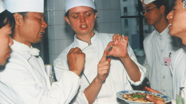 Fuchsia Dunlop, pictured in her chef whites at the Sichuan Institute of Higher Cuisine, was its first foreign student.