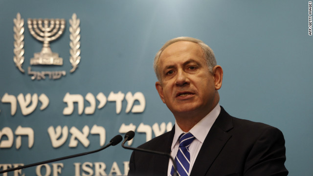Israeli Prime Minister Benjamin Netanyahu briefs the press on his election announcement in Jerusalem on October 9, 2012.