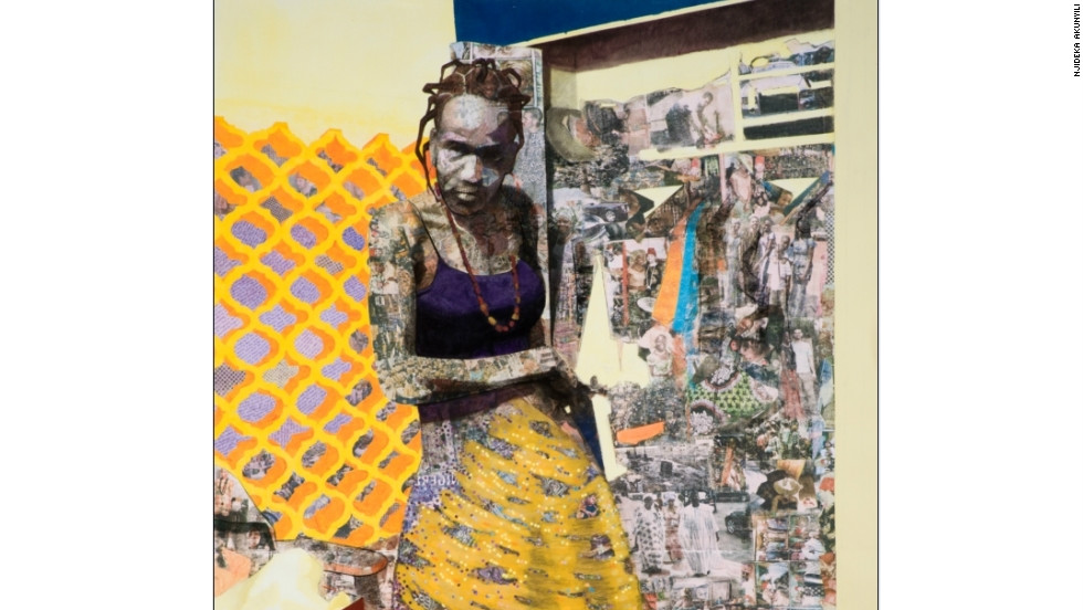 Like most of Akunyili's works, this 2011 piece is on paper using a combination of paint, charcoal, pastel, colored pencil, collage and photocopy transfers.