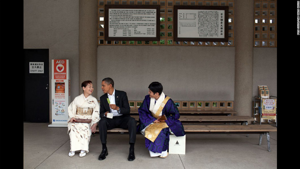 "Pete Souza is the official White House photographer for President Obama and served in the same role for late President Ronald Reagan. Souza has followed Obama since his rise from senator to president. ""Visiting the Great Buddha of Kamakura, in Japan, the president had a green tea ice cream bar with his hosts  on November 14, 2010,"" Souza said. ""He had visited this Buddha as a young child and said he remembered sitting in the exact same place having an ice cream bar."""