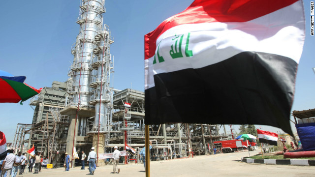The Iraqi flag flutters during the official opening of the second refinery for crude oil in Al-Dora refinery complex in Baghdad on September 16, 2010.