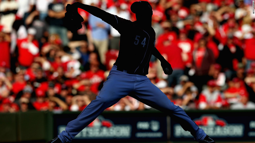 Aroldis Chapman of the Cincinnati Reds pitches against the San Francisco Giants in Game Five of the National League Division Series on Thursday in Cincinnati.