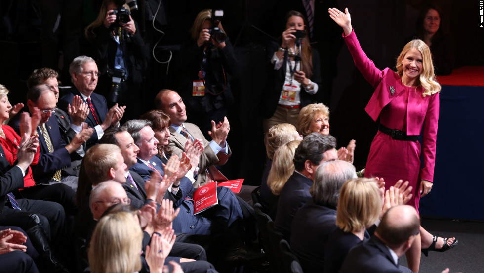 Janna Ryan, wife of Paul Ryan, waves to the crowd.