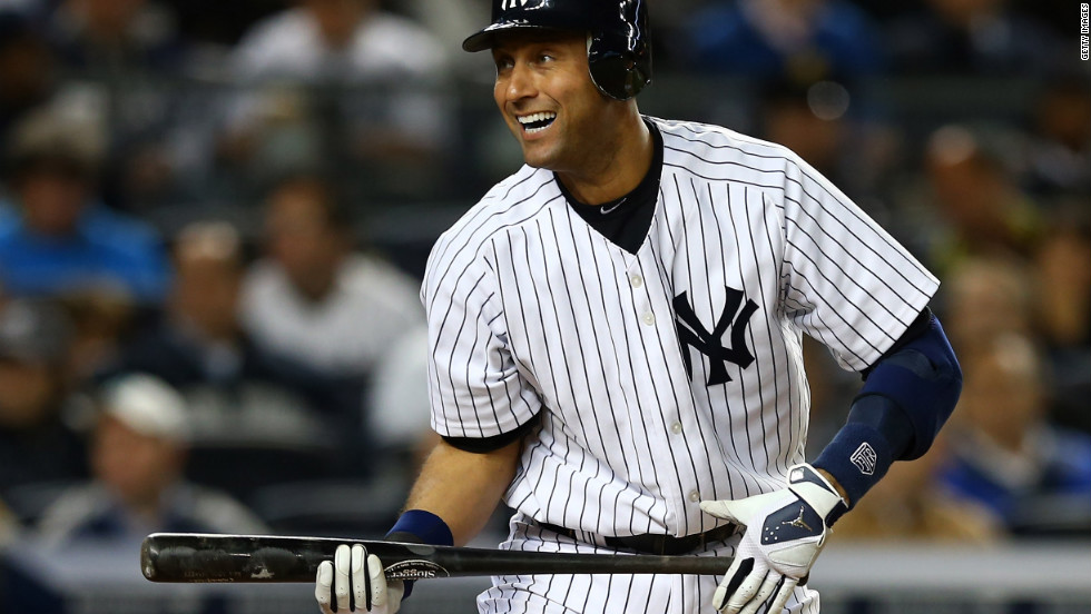 New York Yankees designated hitter Derek Jeter grimaces after striking out in the third inning Thursday against Baltimore.