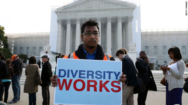 A supporter of affirmative action in front of the U.S. Supreme Court on Wednesday.