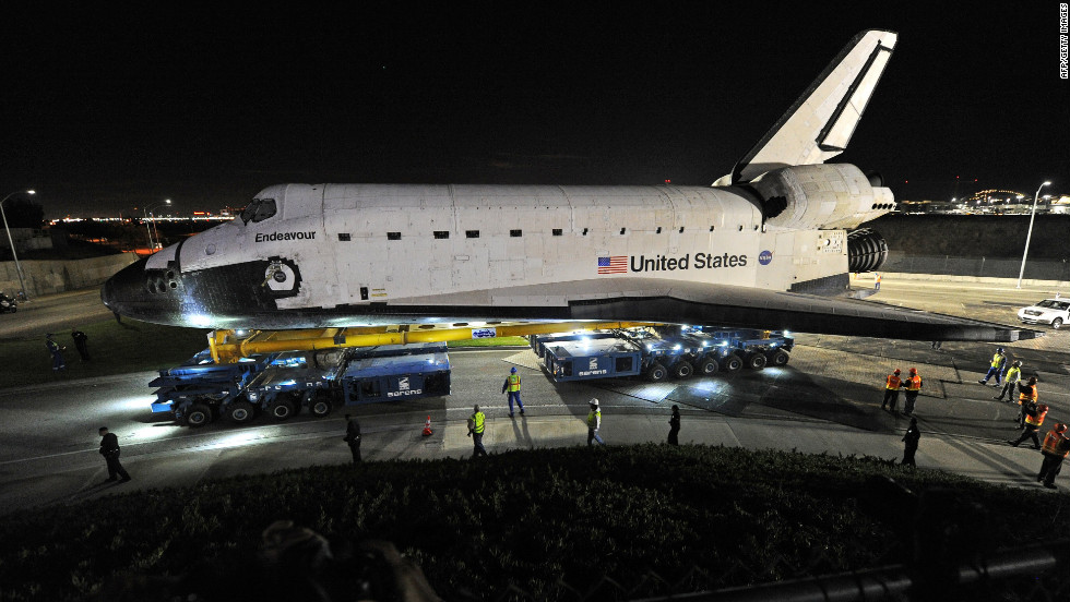 Computer-controlled transporters help move Endeavour across Los Angeles International Airport early Friday.