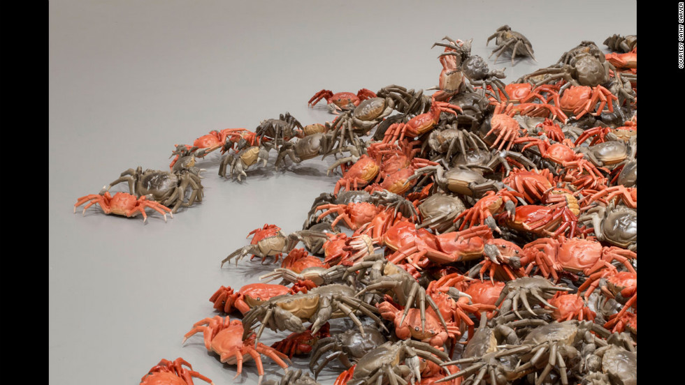 """He Xie"" (detail, 2010) includes more than 3,000 porcelain river crabs. The Chinese word for ""river crab"" is a homophone for the word for ""harmonious"" as used in the Communist slogan. ""He Xie"" is slang for online censorship, according to the museum."