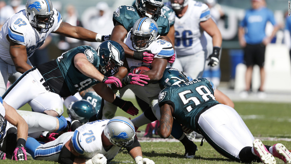 Joique Bell of the Detroit Lions is tackled during Sunday's game against the Philadelphia Eagles at Lincoln Financial Field in Philadelphia.