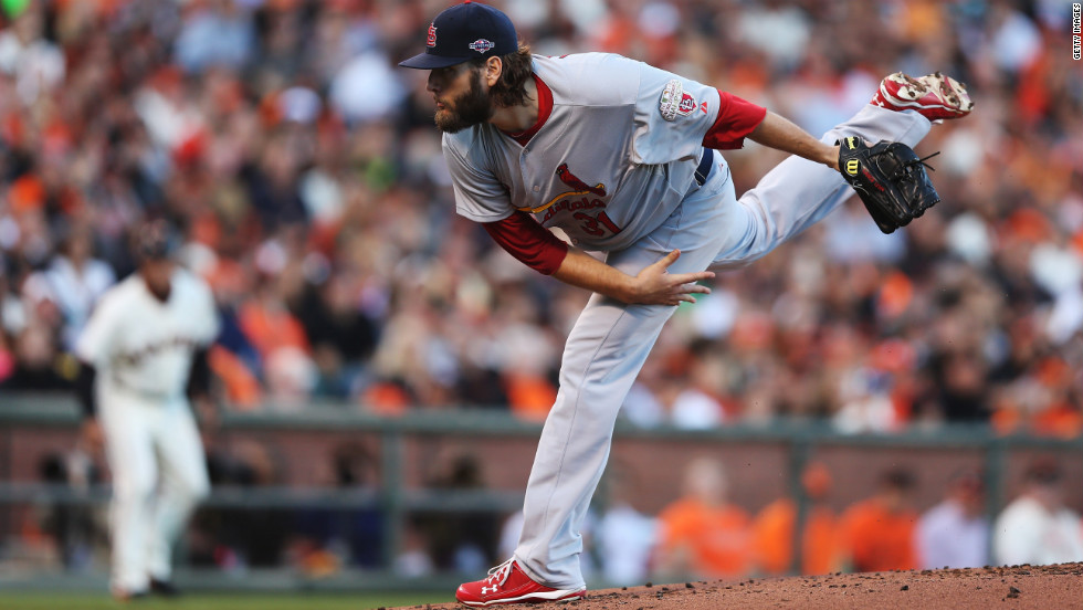 Lance Lynn of the St. Louis Cardinals pitches in the first inning of Game One.