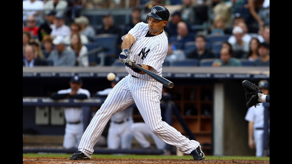 Ibanez, a hero for the Yankees in the ALDS against the Baltimore Orioles, hits a single in the fourth inning.