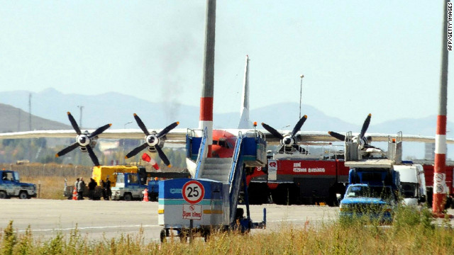 An Armenian plane destined for the Syrian city of Aleppo stopped first in the Turkish city of Erzurum for an inspection.