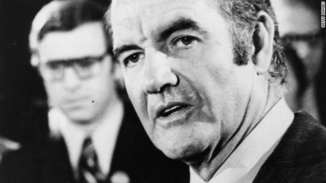 Sen. George McGovern ran for president in 1972 against incumbent Republican Richard Nixon.