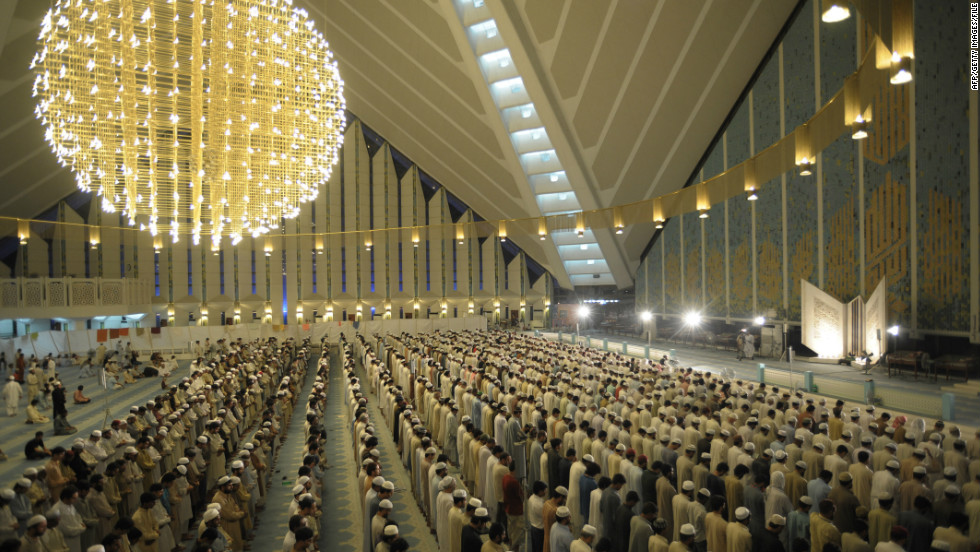 "People pray inside the Faisal Mosque in the capital. Alam says Pakistan remains ""a state living on the edge of being labeled a failure, with a population that largely believes America is indeed the Satan."""