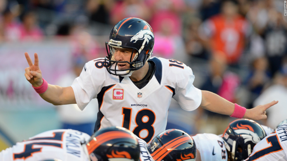 Broncos quarterback Peyton Manning calls out a play during Monday night's game against the Chargers.