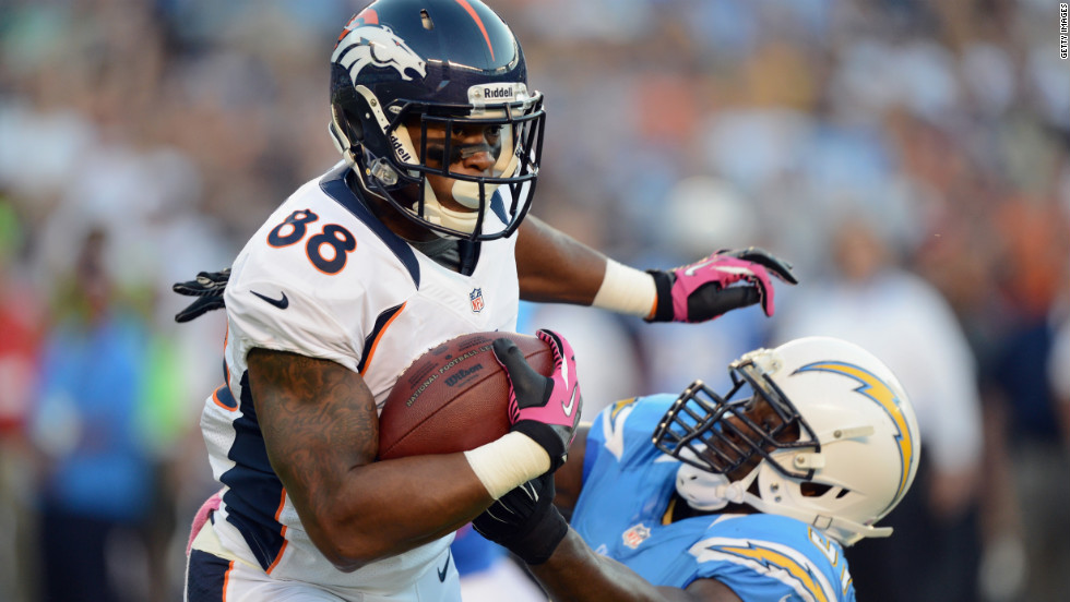 Demaryius Thomas of the Broncos runs the ball against Takeo Spikes of the Chargers in the first quarter.