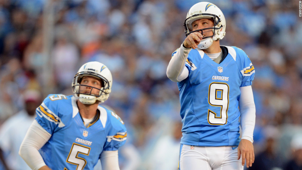 Placekicker Nick Novak, right, and Mike Scifres of the San Diego Chargers watch Novak's kick split the uprights for a field goal against the Denver Broncos on Monday.