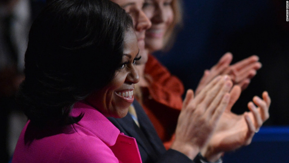First lady Michelle Obama awaits the start of the second presidential debate.