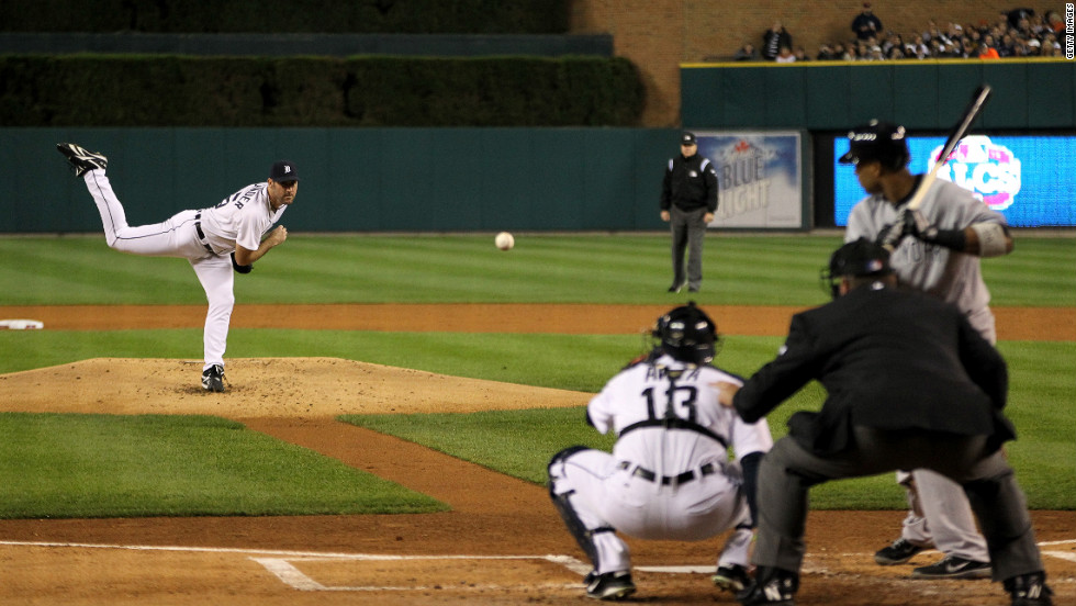 Justin Verlander of the Detroit Tigers pitches against the New York Yankees during Game 3 of the American League Championship Series.