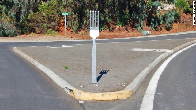 A 6-foot-tall kitchen utensil appeared at an intersection this week in Carlsbad, California.