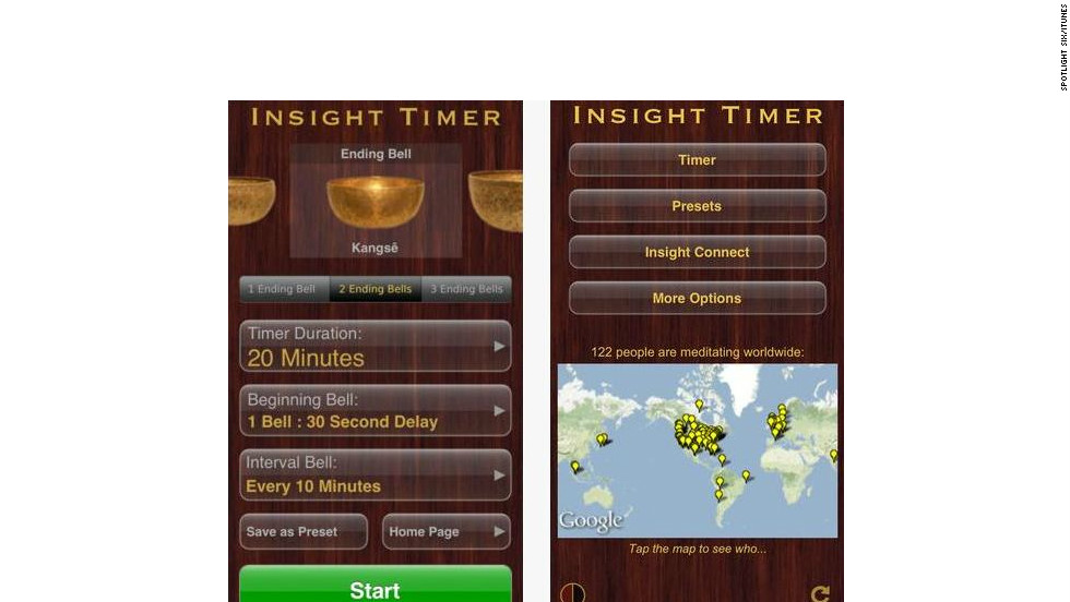 "<a href=""http://spotlightsix.com"" target=""_blank"">Insight Timer</a>: ($1.99, spotlightsix.com) With the sounds of Tibetan singing bowls as background noise, Insight Timer allows users to track their meditations, is customizable to individual mediatation routines and rewards achievement with insight ""milestones."" (iPhone, iPod Touch, iPad)"