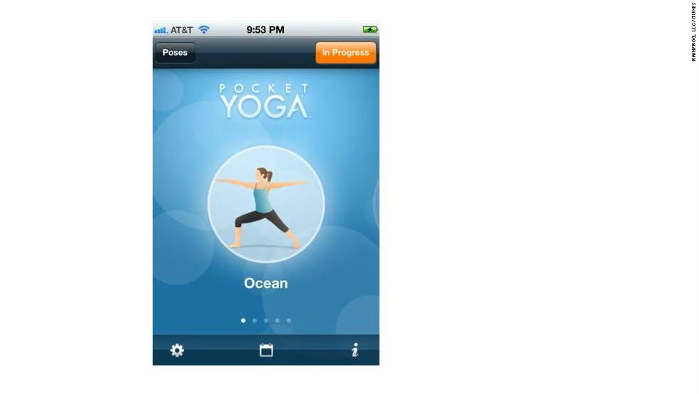 "<a href=""http://pocket-sports.com"" target=""_blank"">Pocket Yoga</a>: ($2.99, pocket-sports.com) A mobile guide to yoga, Pocket Yoga is customizable according to three different practices, difficulties and durations, all created by Gaia Flow Yoga. Pose instructions come complete with voiceover, and users can swap out the default music for their own libraries. (iPhone, iPod Touch, iPad)"