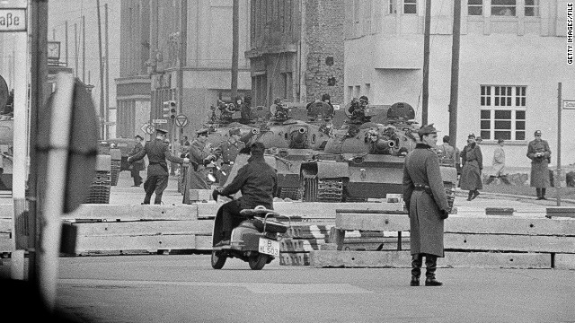 Soviet tanks and troops at Checkpoint Charlie, Berlin, February 1961.