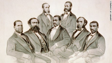 A group portrait of the first black African-American U.S. lawmakers, including Revels.