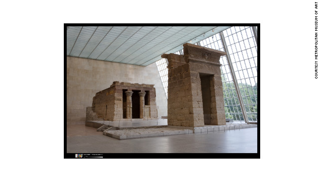 The 2000-year-old Temple of Dendur is displayed in the Sackler Wing of the Metropolitan Museum of Art, New York.