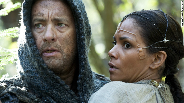 "Tom Hanks stars as Valleysman Zachry and Halle Berry stars as Meronym in ""Cloud Atlas."""