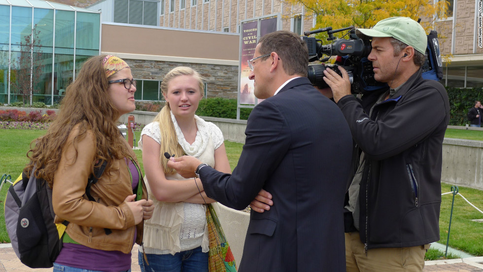 Richard Quest interviewing Brigham Young University students. Mitt Romney graduated from this university, also known as the Mormon University, in 1971.