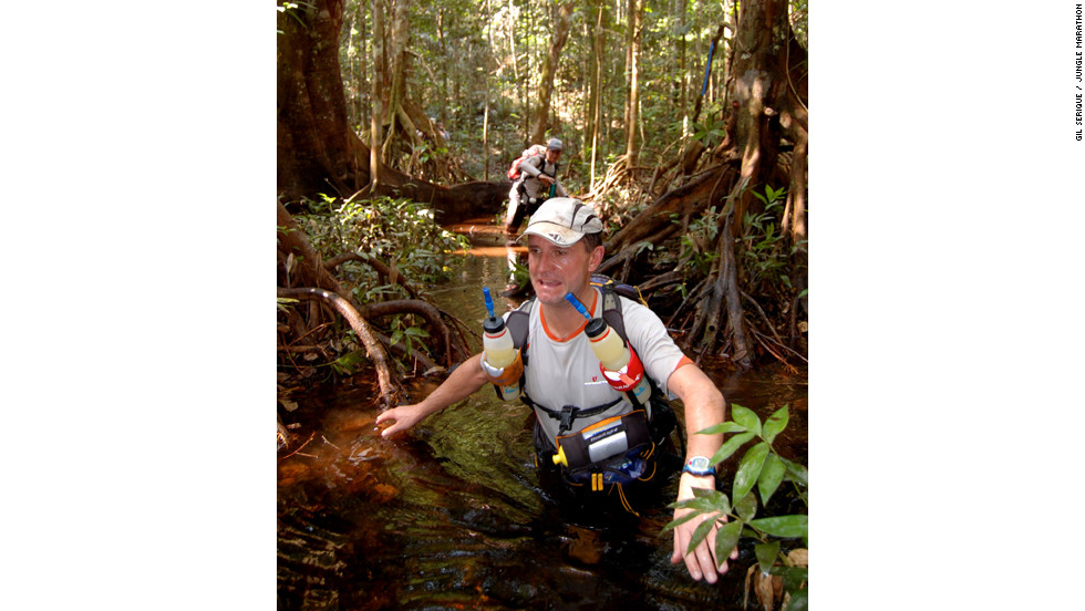 Competitors in Earth in the Jungle Marathon tackle 220km of inhospitable terrain in seven days, battling swamps, poisonous trees and intense heat in the Amazon. Athletes are self-supported to toughen the challenge.