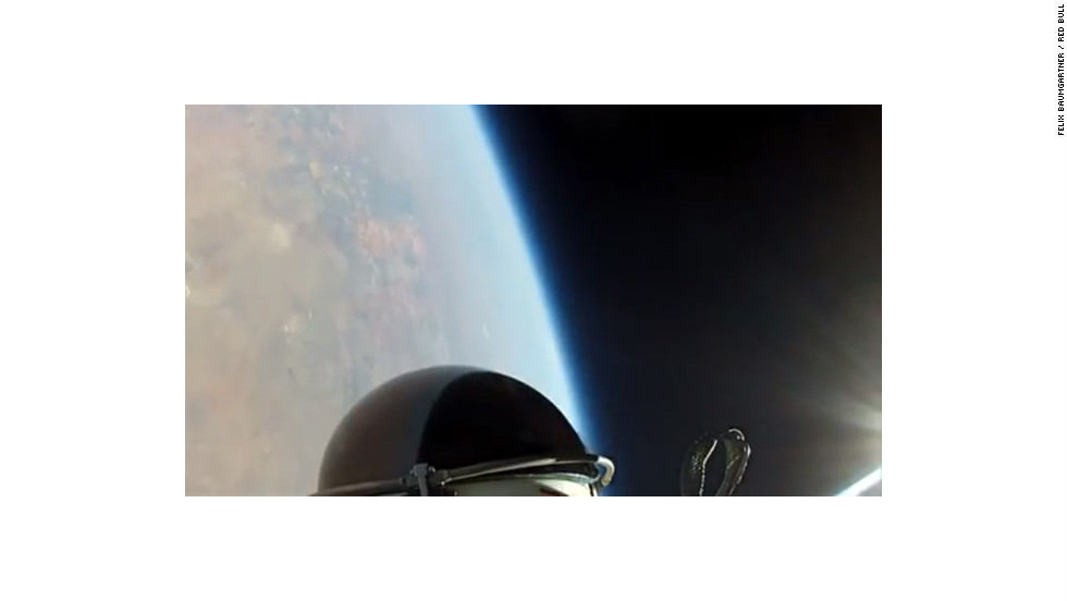 Skydiver Felix Baumgartner took a shot during his recent jump from the stratosphere.
