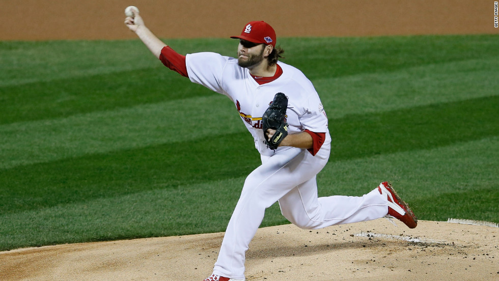 No. 31 Lance Lynn of the Cardinals pitches in the first inning against the Giants.