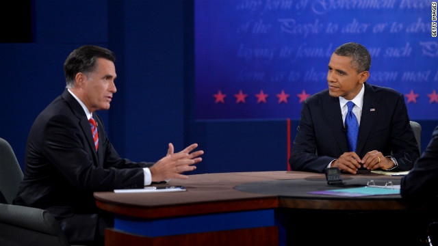 US President Barack Obama listens as Republican presidential candidate Mitt Romney talks at the third and final presidential debate at Lynn University in Boca Raton, Florida, on October 22, 2012. The showdown focusing on foreign policy is being held in the critical toss-up state of Florida just 15 days before the election and promises to be among the most watched 90 minutes of the entire 2012 campaign. AFP PHOTO/Jewel Samad        (Photo credit should read JEWEL SAMAD/AFP/Getty Images)