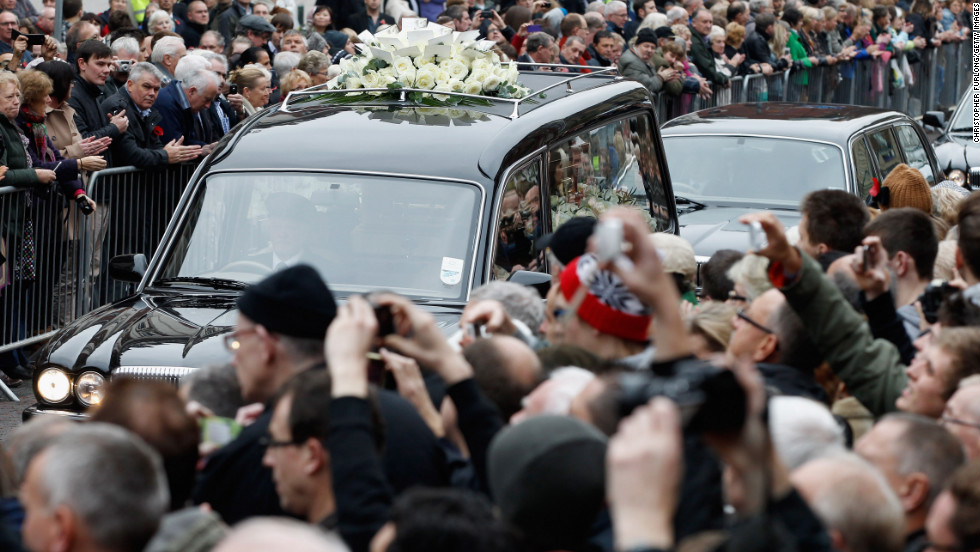 The funeral cortege of Savile arrives at Leeds Cathedral for a funeral service on November 9, 2011, in Leeds, England.
